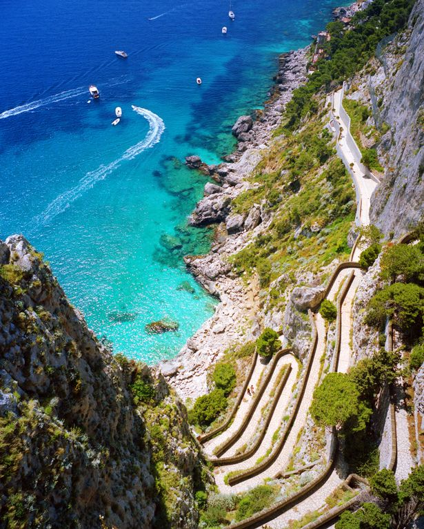 View of Via Crups and the Mediterranean Sea, from Belvedere di Giardini Augusto, City of Capri, Island of Capri, Italy, Europe