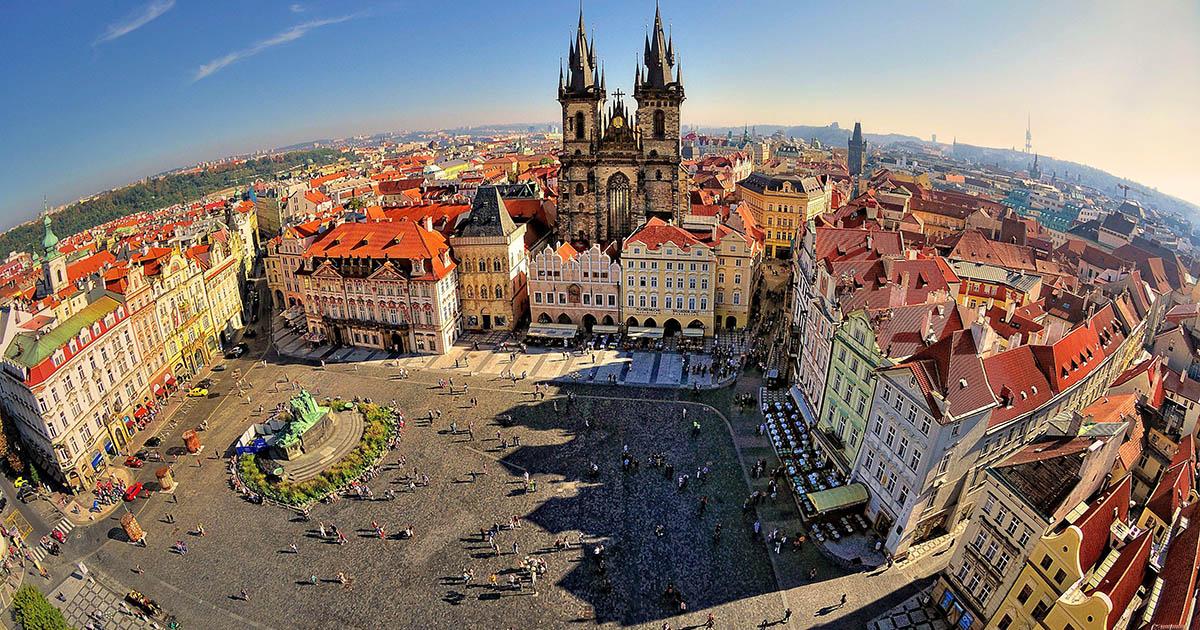 Glavni trgu u Pragu, Češkoj, pogled sa visine