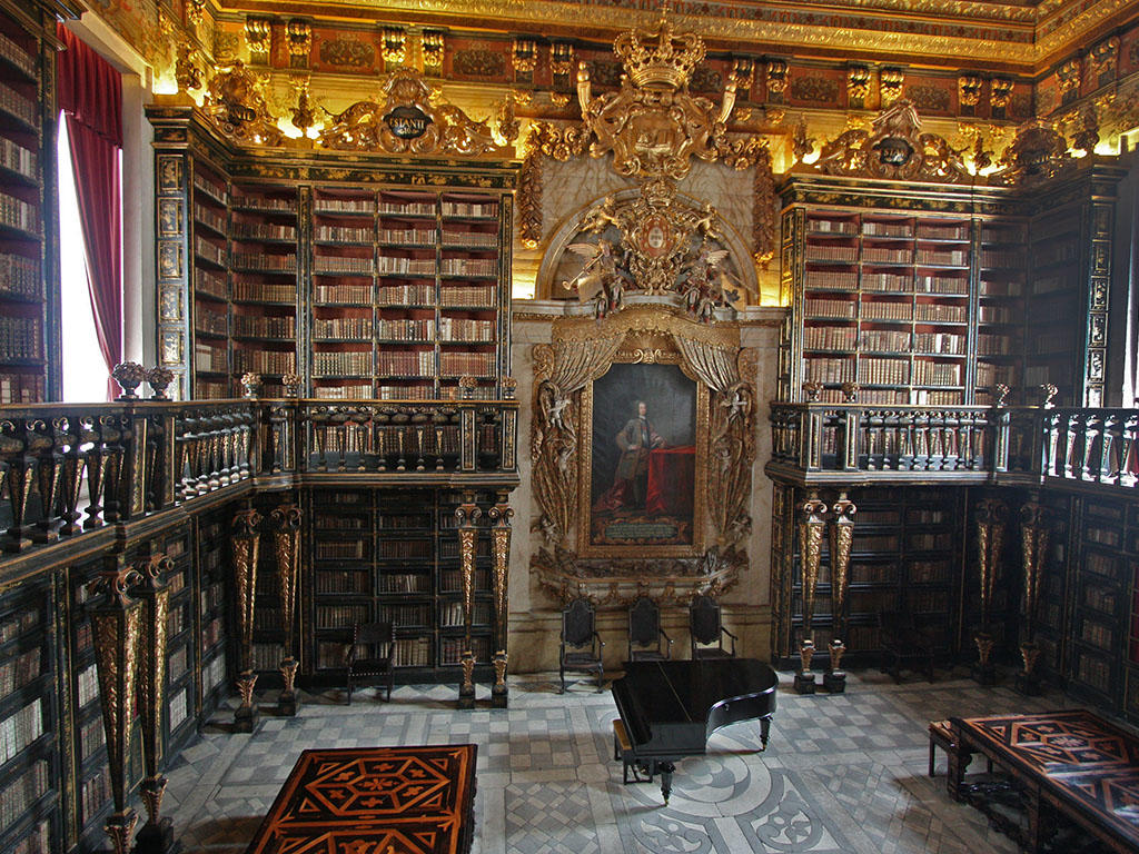 Country: Portugal Site: Baroque Library Caption: Interior image view of the third hall in the main floor, with King John V portrait Image Date: February 2010 Photographer: Vítor Murtinho, University of Coimbra/World Monuments Fund Provenance: 2014 Watch Nomination Original: from Sharefile