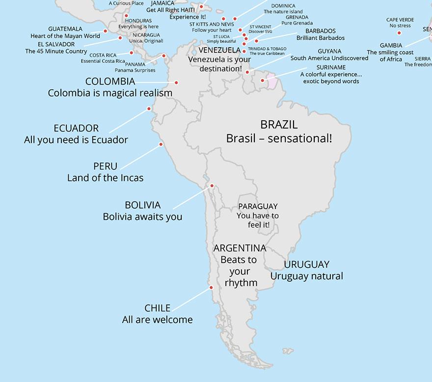 Slogani za zemlje u Južnoj Americi