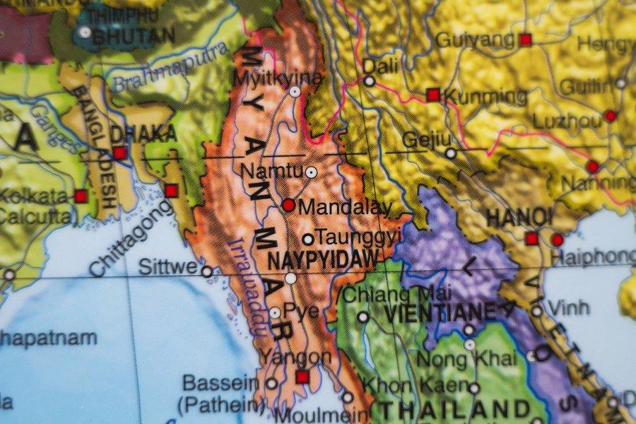 Mapa Mjanmara