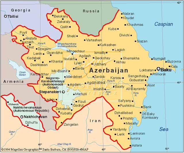 Azerbejdžan mapa