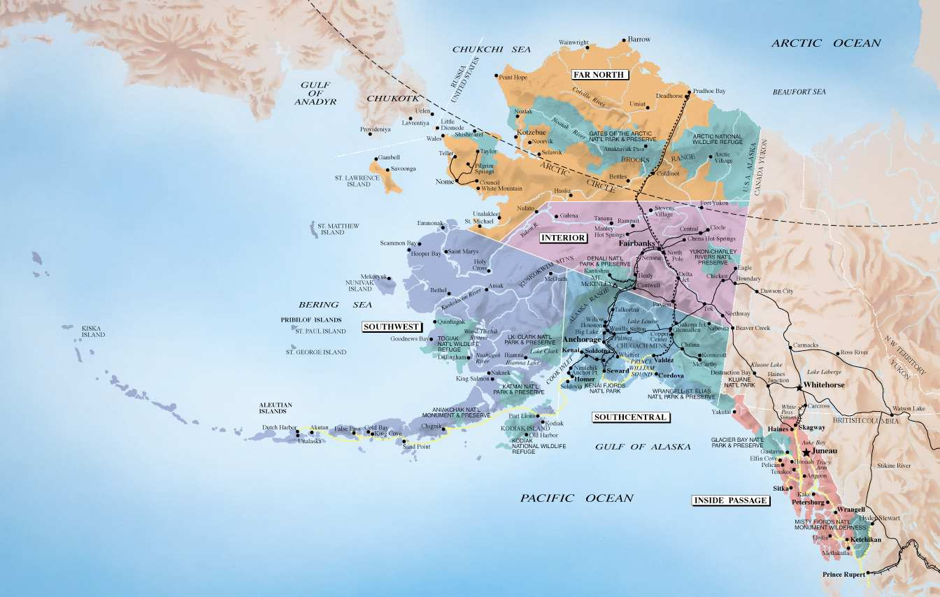 Mapa Aljaske