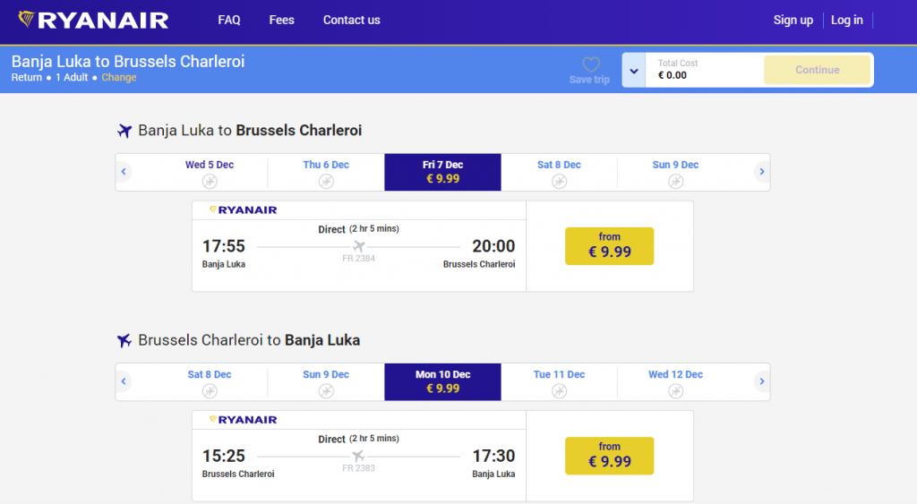 povratne karte iz Banjaluke za Brisel