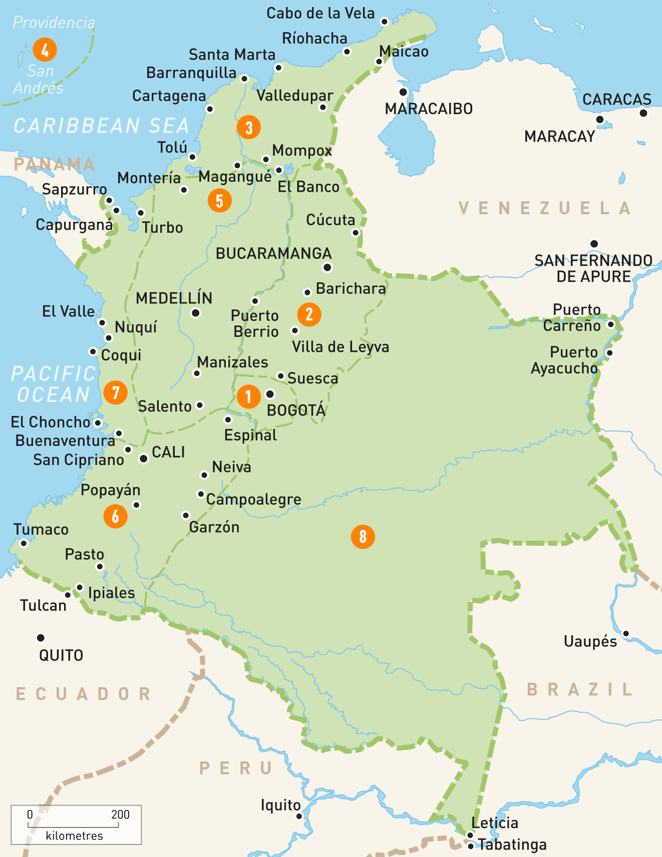 mapa kolumbije
