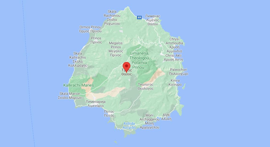 Tasos mapa ostrva