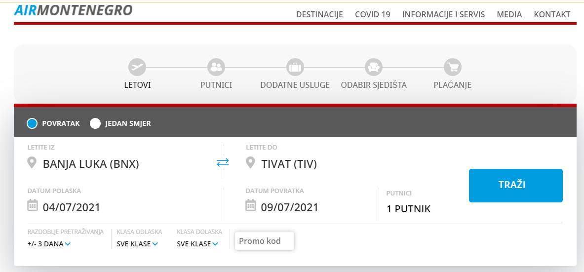 montenegro Airlines sajt